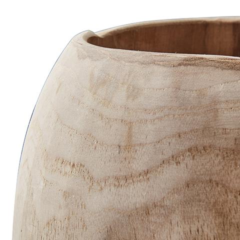 Drevená okrúhla nádoba z tíkového koreňa bez povrchovej úpravy.