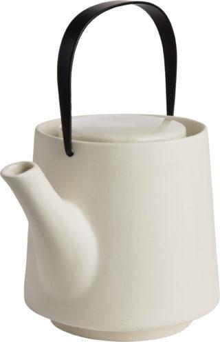 Čajník z kameniny s estetickou odoberateľnou kovovou rúčkou čiernej farby s objemom 1,2 litra.