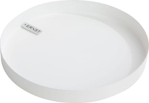 Dekoračný kovový podnos kruhového tvaru na sviečky v bielej farbe.