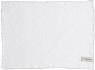 Biele prestieranie zo 100% bavlny ozdobené strapcami.