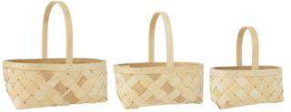 Sada 3 ks drevených košíkov z jaseňa v prírodnom prevedení.