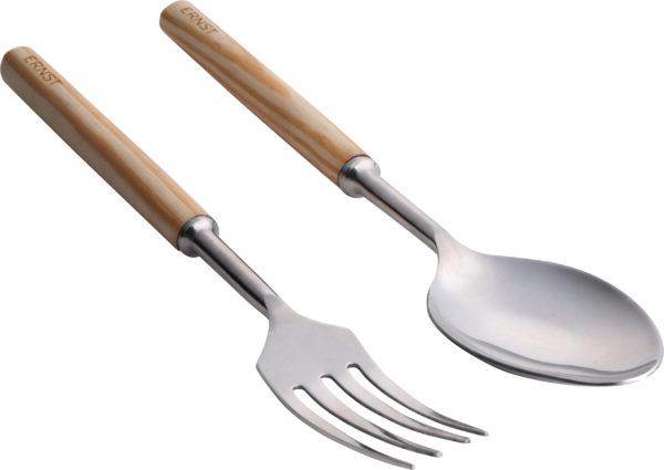 Sada kovovej lyžice a vidličky pre naberanie šalátu s drevenou rúčkou.