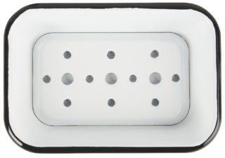 Smaltovaná obdĺžniková mydelnička bielej farby s čiernym lemom.
