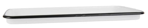 Smaltovaný obdĺžnikový podnos bielej farby s čiernym lemom.