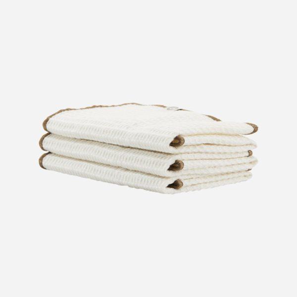 Bavlnená utierka bielej farby, sada 3 kusov.