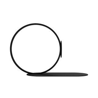 Kovová zarážka na knihy z nehrdzavejúcej ocele nastriekaný čiernou práškovou farbou v tvare prsteňa na podstavci.