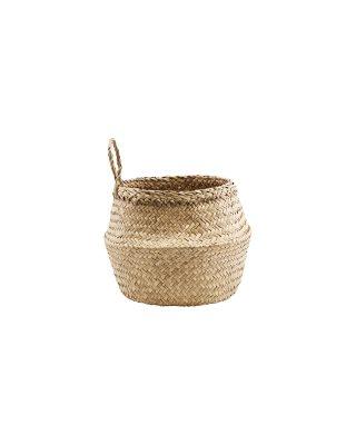 Kruhový košík z morskej trávy v prírodnej farbe o priemere 24 cm.
