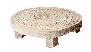 Vintage Indická podložka kruhového tvaru so vzorom mandaly zo starého dreva.