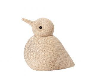 Dizajnový drevený vtáčik z dubového dreva s ligotavým očkom.