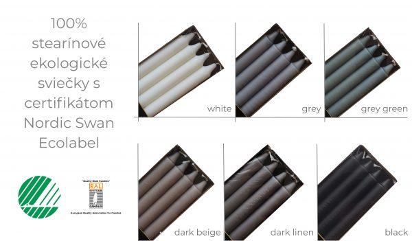 Jediná ekologická sviečka na svete, ktorá spĺňa najvyššie štandardy. Štíhla stearínová sviečka vysoká 24 cm o priemere 2,2 cm.