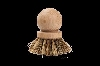 Drevená kefka na riad z prírodného bukového dreva a štetinami z rastlinných vlákien.