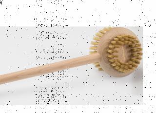 Obojstranná masážna kefa s rúčkou dlhou 43 cm z voskovaného bukového dreva v prírodnej farbe.