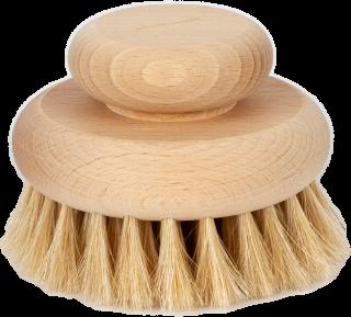 Masážna kefa do dlane o priemere 11 cm z voskovaného bukového dreva v prírodnej farbe.