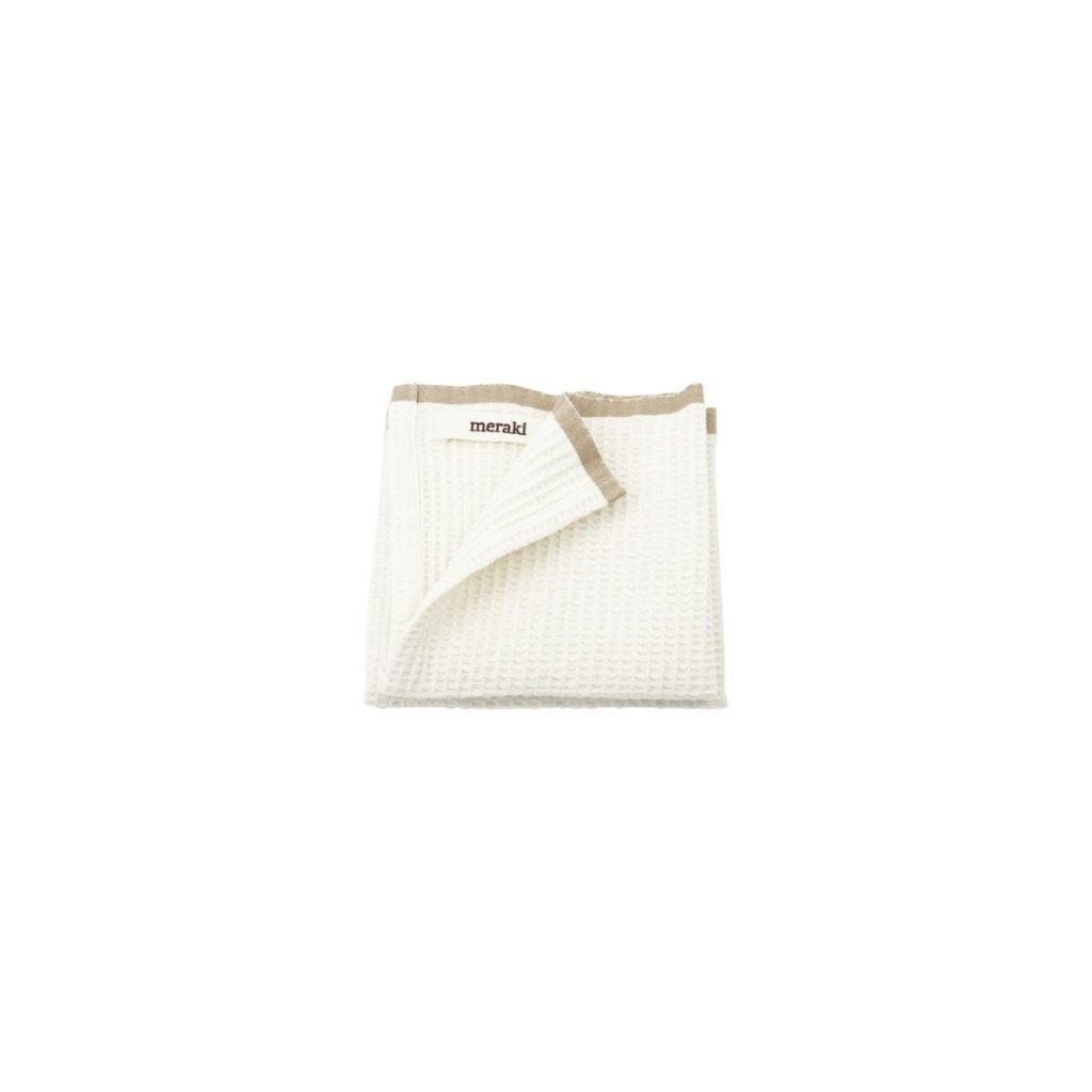 Biela bavlnená utierka z vaflového úpletu s hnedým okrajom o rozmere 31 x 31 cm.