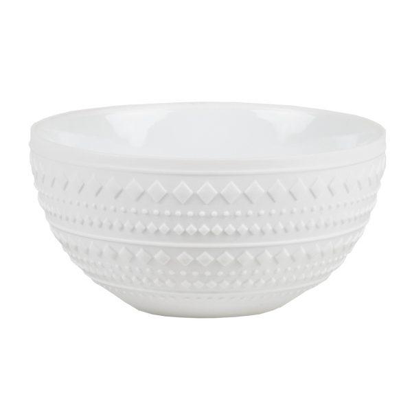 Biela porcelánová miska so vzorom v tvare diamantov o priemere 13,5 cm vysoká 7 cm.