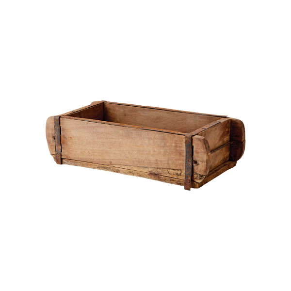 Starožitná drevená truhlica na výrobu tehál.